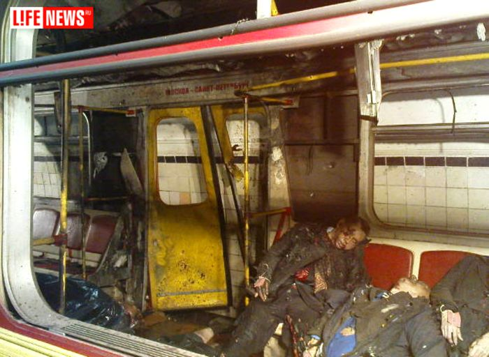 Two Muslim female suicide bombers blew themselves up on crowded metro trains in the Russian capital Moscow  killing 37 people and injuring 65.