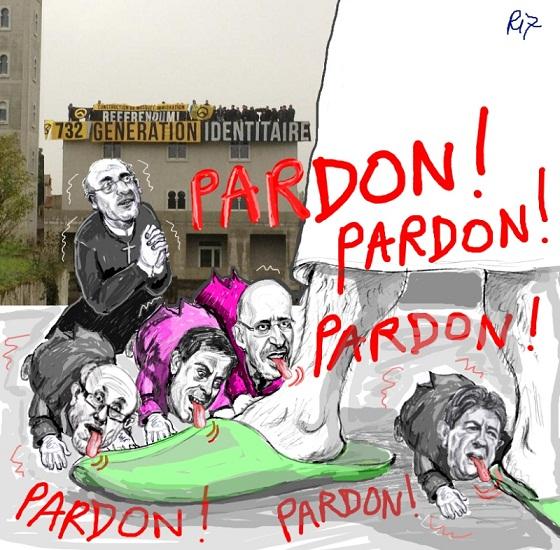 Cartoon burla de los líderes políticos y religiosos que apaciguar a los inmigrantes musulmanes que son la causa de malestar social, cultural y religiosa, por no hablar de aumento de la delincuencia y la violación
