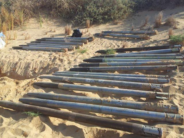Algunos de los cohetes confiscados por el ejército egipcio
