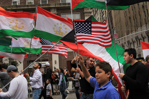 Flags held by Muslims in parades in America