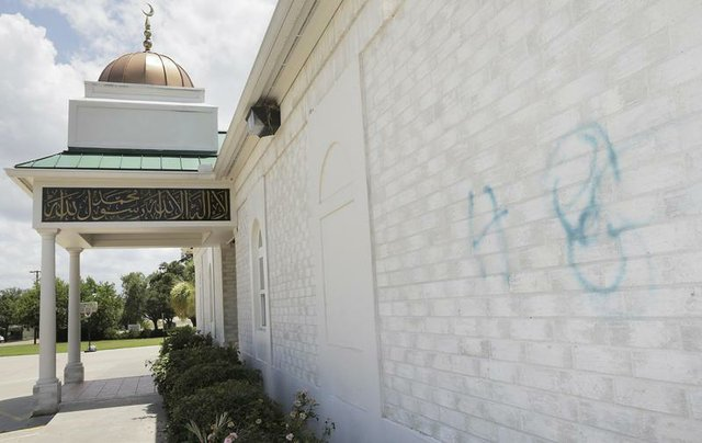 This is the extent of the vandalism on the mosque