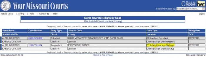 Apparently, MD ALAM has a police record for stalking
