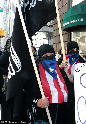 Proudly carrying the black flag of jihad