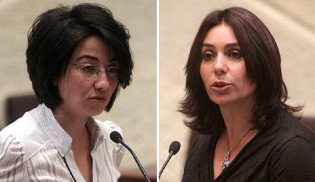 Árabe israelí Hanin Zoabi MK (a la izquierda) y el diputado del Likud Miri Regev (derecha).