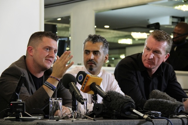 NEW BESTIES: Tommy Robinson, EDL, Maajid Nawaz,  former member of radical Hizb-ut Tahrir and co-founder of the Quilliam Foundation, and Kev Carroll, EDL.