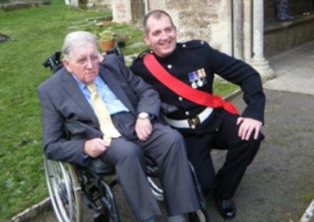 Alexander Blackman pictured with his wheelchair-bound father Brian who died shortly before his tour of duty