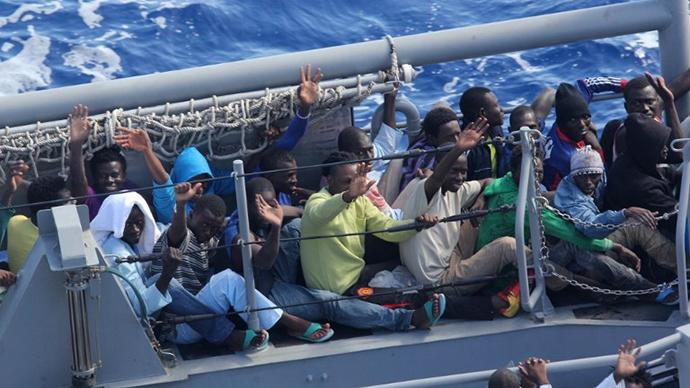 US Navy rescues 128 African migrants in rough seas