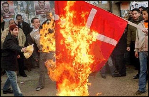 Muslims burn Danish flag