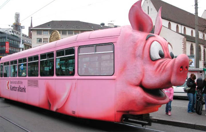 Muslims in Switzerland consider the Swiss Piggy Tram an insult to their religion