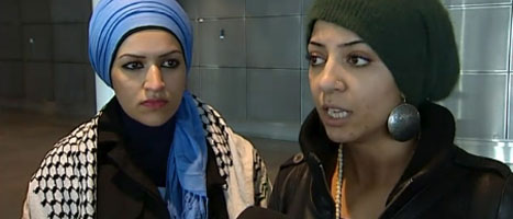 Samaa Sarsour (left) at Ben Gurion Airport right before she was deported from Israel