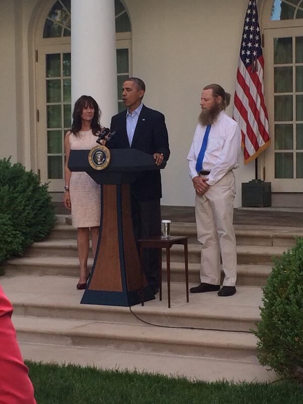 "Obama appears with Berghdal's parents to announce ""their son is coming home""  Is that a Muslim beard on the old man?"