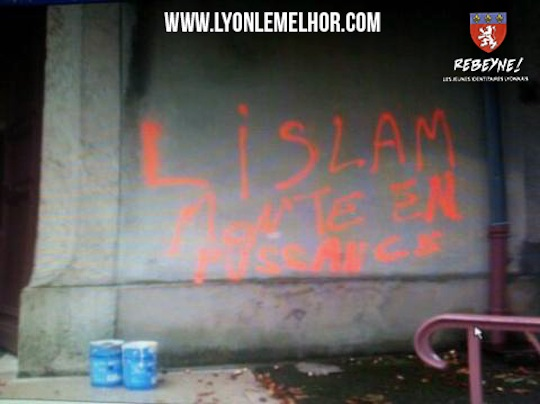 "While mosque graffiti in France gets massive media coverage, both nationally and internationally, church graffiti is all but ignored. A church in the village of Chassieu in France was vandalised with graffiti reading ""Islam is growing in power"" signed Mohamed Merah, the Muslim Toulouse mass murderer. The town council quickly arranged for the graffiti to be erased, but there appears to have been no significant reporting of this event."