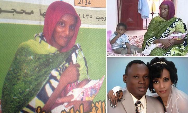 Meriam Ibrahim, de 27 años, parecía mucho más saludable en su boda.  Lo que no se ve en estas fotos recientes de la cárcel es que sus pies están encadenados al suelo