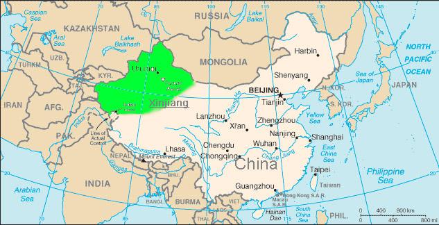 Xinjiang (E. Turkistan) Province, home of Uighur Muslim population
