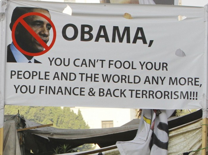 One of the many anti-Obama signs seen in Tahrir Square when tens of millions of Egyptians came out to demand the ouster of Mohamed Morsi