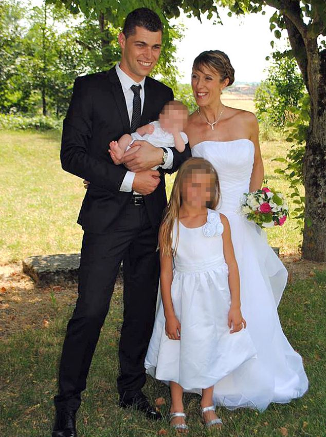 Teacher Fabienne Calmes - a 34-year-old mother of two little girls (pictured with her family above)