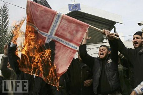 Muslims burning the Norwegian flag