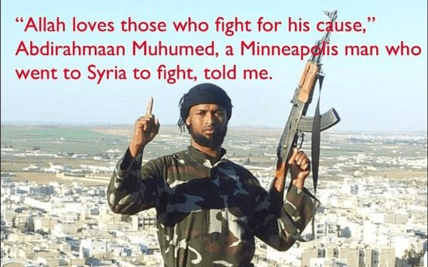 Minnesota Somali-born Muslim Abdirahmaan Muhumed, 29, the family man turned jihadist in a picture posted by him on Facebook and believed to be in Syria says he is 'happy' to be considered a terrorist