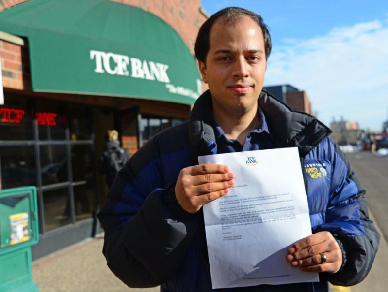 University of Minnesota student Amir-Pouyan Shiva from Iran and several other Iranians got the letter just before New Year's: TCF Bank would be closing the account he and his wife had maintained for five years.