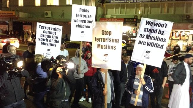 Ever the 'victims,' Muslims protest police counterIslamic terrorism raids