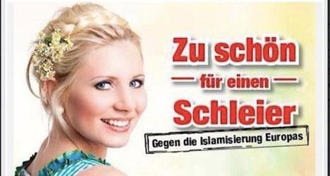 """Una campaña de carteles por el Partido de la Libertad de Austria (FPO) muestra a una mujer rubia con la frase """"Demasiado hermoso para un velo""""."""