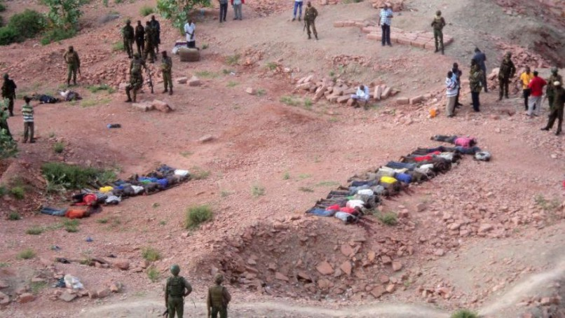 THIS IS WHY: Dec. 2, 2014: Bodies of Kenyans lie at a quarry in Mandera County, Kenya. Kenya police said that at least 36 quarry workers were killed in an attack in northern Kenya by suspected Islamic extremists from Somalia who targeted non-Muslim workers.