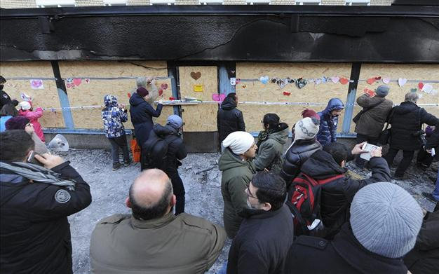 Stupid Swedish leftist dhimmis People leave flowers and other messages of good will at the scene of the first destroyed mosque