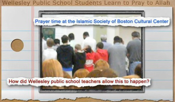Wellesley, MA school field trip to a mosque where non-Muslim boys were in the front and girls in the back as they bow their heads in prayer