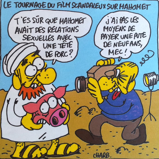 """CAPTION: ON THE SET OF THE SCANDALOUS FILM ABOUT MOHAMMED: """"ARE YOU SURE MOHAMMED HAD SEXUAL RELATIONS WITH A PORK HEAD?"""" """"I CAN'T AFFORD TO PAY A 9-YEAR-OLD PROSTITUTE, MAN."""""""
