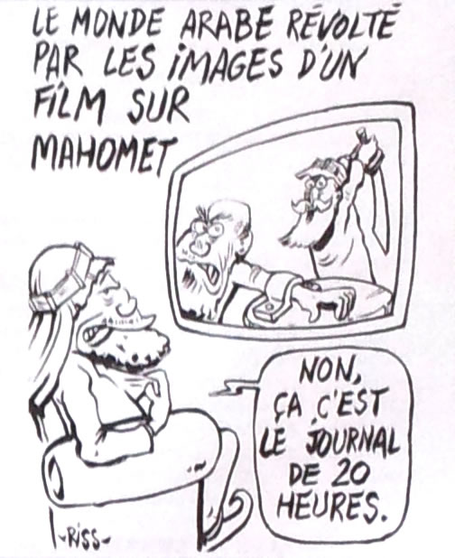 """CAPTION: THE ARABIC WORLD IS INCENSED BY A FILM THAT SHOWS IMAGES OF MOHAMMED. """"NO, THIS IS THE EVENING NEWS."""""""