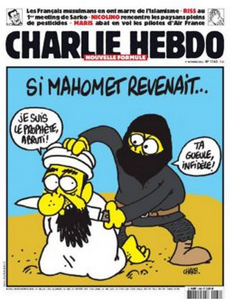 The cartoon features a member of ISIS about to behead Muhammed and calling him an infidel. The caption reads, 'If Muhammad were to return...'
