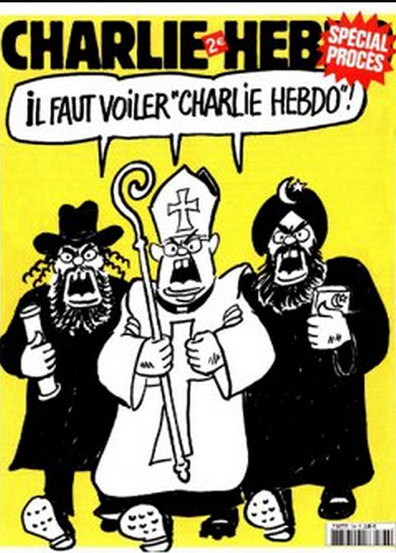 a Jew, the Pope, and an Islamic fundamentalist all shouting, 'Charlie Hebdo must be veiled!'