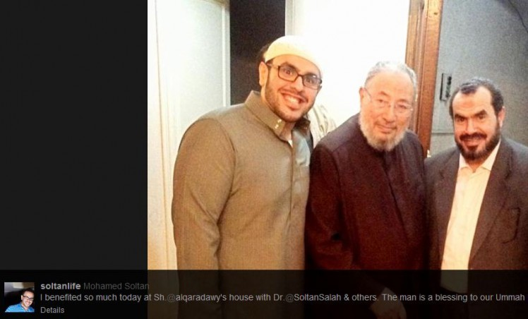 Mohamed and his father, Salah Soltan, with the most radical hate preacher in Egypt and spiritual leader of the outlawed Muslim Brotherhood Youssef Qaradawi