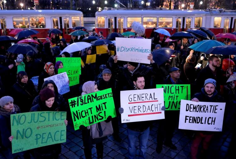 Muslims in Austria protest the new laws as discriminatory to muslims. So leave!
