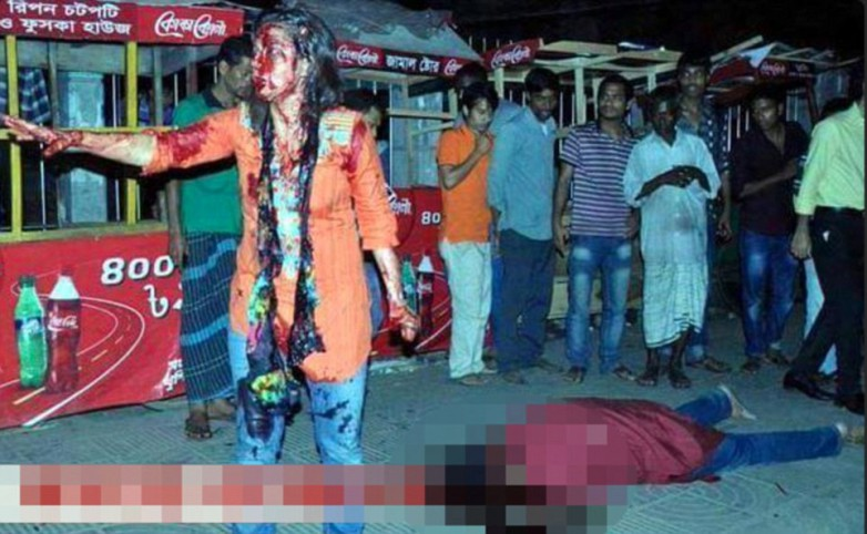 This image, circulated by extremists on social media, shows Dr Aijivit Roy dead on the floor in Dhaka, Bangladesh (right) on Thursday night. Left, his wounded wife, Rafida Ahmed, stands over his body