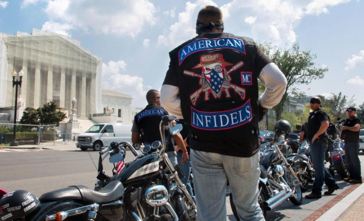 """""""Warfare?"""" American Infidels motorcycle club in Washington DC participated in the   2MillionBikerstoDC  9/11 in 2013 tribute rally"""