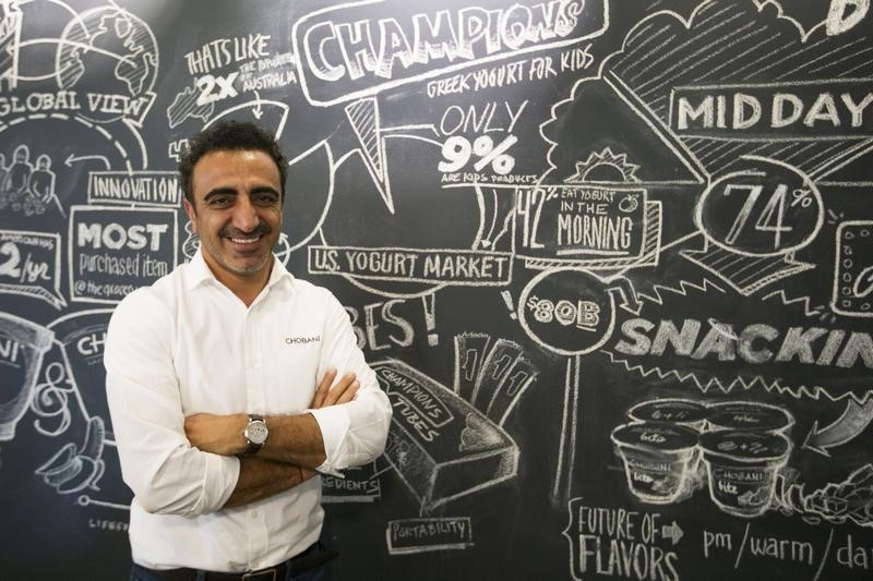 Chobani Inc. founder Hamdi Ulukaya poses for a portrait in the company headquarters in New York
