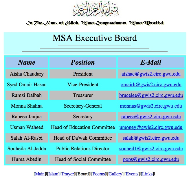 MSA (Muslim Student Association) is a front group for the Muslim Brotherhood. It resulted from Saudi-backed efforts to establish Islamic organizations internationally in the 1960s, for the purpose of spreading its Wahhabist ideology across the globe.