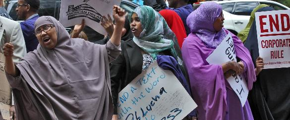 None of the Somali Muslim women work so they have plenty of time to protest for more welfare benefits and social services