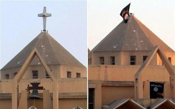 Syrian churches now fly the flag of ISIS