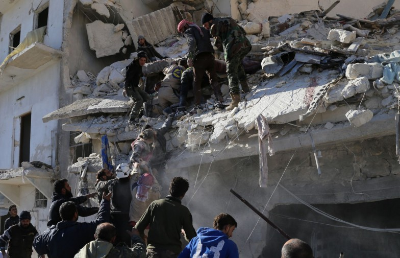 Damage after airstrike