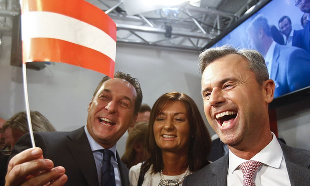 Norbert Hofer with Heinz-Christian Strache, following the Freedom party's victory.