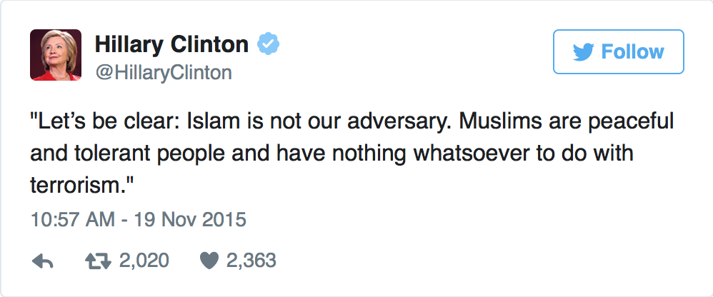Clinton-Muslims-Nothing-To-Do-with-Terrorism