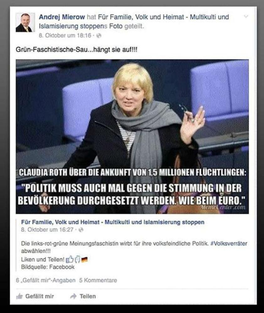 A poster criticised German Green Party politician Claudia Roth's stance on refugees on Facebook.