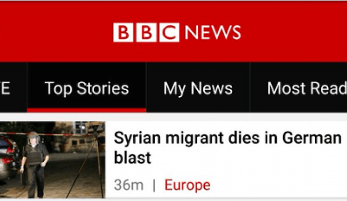 BBC used this misleading headline for Muslim who blew himself up in terrorist attack