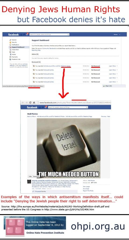 Facebook deletes Israel