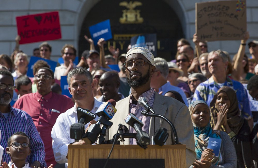 """We condemn in the strongest terms such name-calling, scapegoating and lies by Donald Trump,"" Deqa Dhalac, an executive with the Somali Muslim Community Center of Maine, said during a rally in front of Portland City Hall Friday."