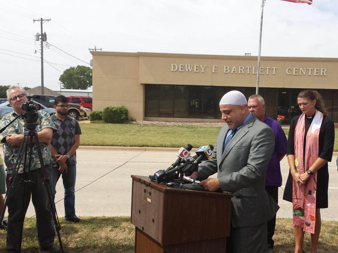 Oklahoma City University professor of Islamic Studies and Islamic Society of Greater Oklahoma City Imam Imad Enchassi speaking during a press conference is quite the media whore