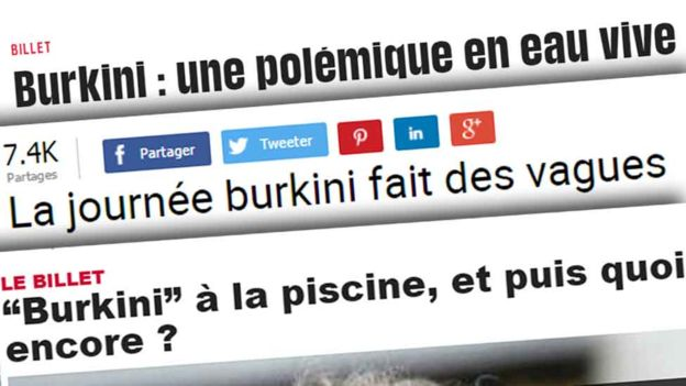 "Le Dauphine's headline (bottom) says ""'Burkini' at the swimming pool. What next?"""