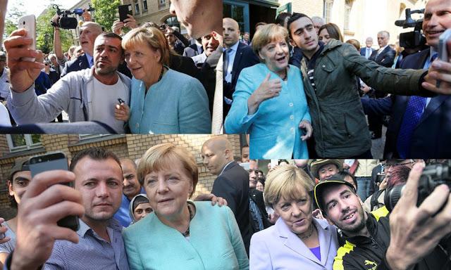 Merkel disfruta teniendo autofotos con los inmigrantes musulmanes